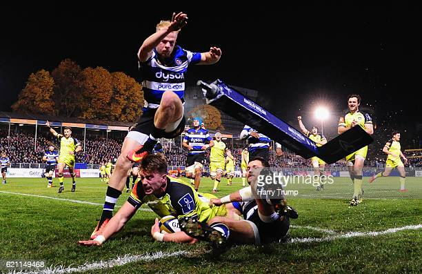 George Catchpole of Leicester Tigers scores his sides second try during the AngloWelsh Cup match between Bath Rugby and Leicester Tigers at...