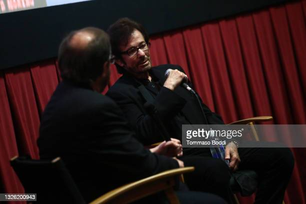 """George Chakiris and Levi Tinker on stage during the Golden Globe and Academy Award winner George Chakiris signs and discusses his new book """"My West..."""