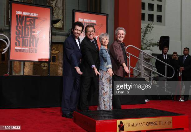 """George Chakiris, Kenny Ortega, Rita Moreno and Russ Tamblyn attend """"West Side Story: 50th anniversary"""" hand & footprint ceremony at Grauman's Chinese..."""