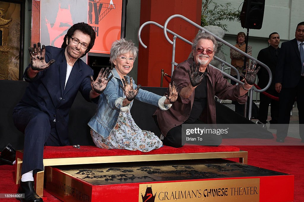 George Chakiris, Rita Moreno and Russ Tamblyn attend 'West Side Story: 50th anniversary' hand & footprint ceremony at Grauman's Chinese Theatre at Grauman's Chinese Theatre on November 15, 2011 in Hollywood, California.