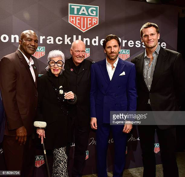 George Chuvalo Evander Holyfield Iris Apfel JeanClaude Biver Henrik Lundqvist and Tom Brady attend the Muhammad Ali tribute event at Gleason's Gym on...