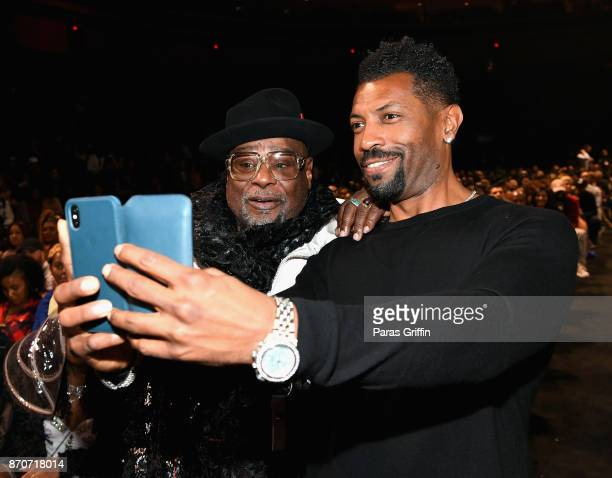 George Clinton and Deon Cole attend the 2017 Soul Train Awards presented by BET at the Orleans Arena on November 5 2017 in Las Vegas Nevada