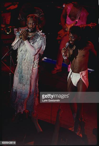 George Clinton and Gary Shides singing during a PFunk AllStar performance