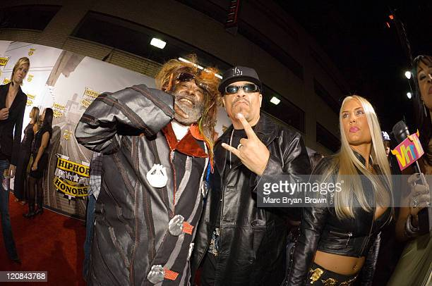 George Clinton IceT and Coco during 2006 VH1 Hip Hop Honors Red Carpet at Hammerstein Ballroom in New York City New York United States