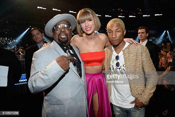 George Clinton Taylor Swift and Pharrell Williams attend The 58th GRAMMY Awards at Staples Center on February 15 2016 in Los Angeles California