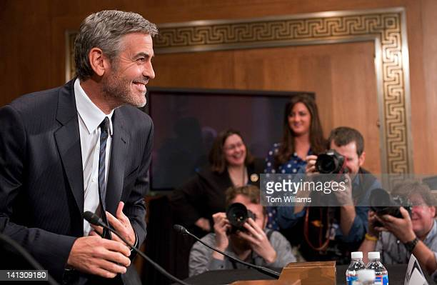George Clooney actor and cofounder of the Satellite Sentinel Project arrives to testify before a Senate Foreign Relations Committee hearing in...