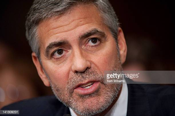 George Clooney actor and cofounder of the Satellite Sentinel Project testifies before a Senate Foreign Relations Committee hearing in Dirksen...
