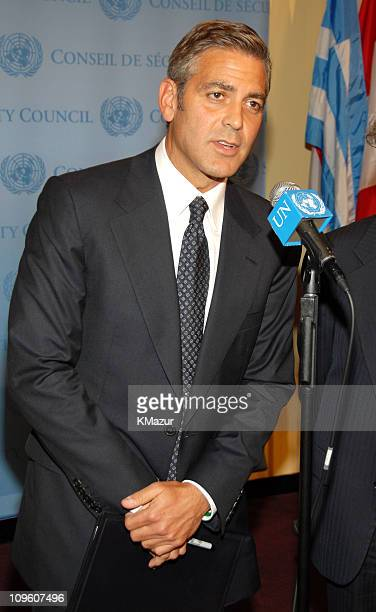 George Clooney addresses the media at a press conference following a high level meeting on the crisis in Darfur at the United Nations on September 14...