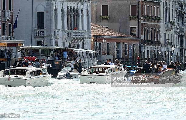George Clooney, Amal Alamuddin, Rande Gerber and Cindy Crawford are seen on September 26, 2014 in Venice, Italy. George Clooney is set to marry his...