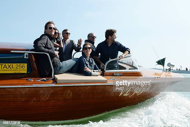 George Clooney Amal Alamuddin Rande Gerber and Cindy Crawford arrive in Venice on September 26 2014 in Venice Italy George Clooney is set to marry...