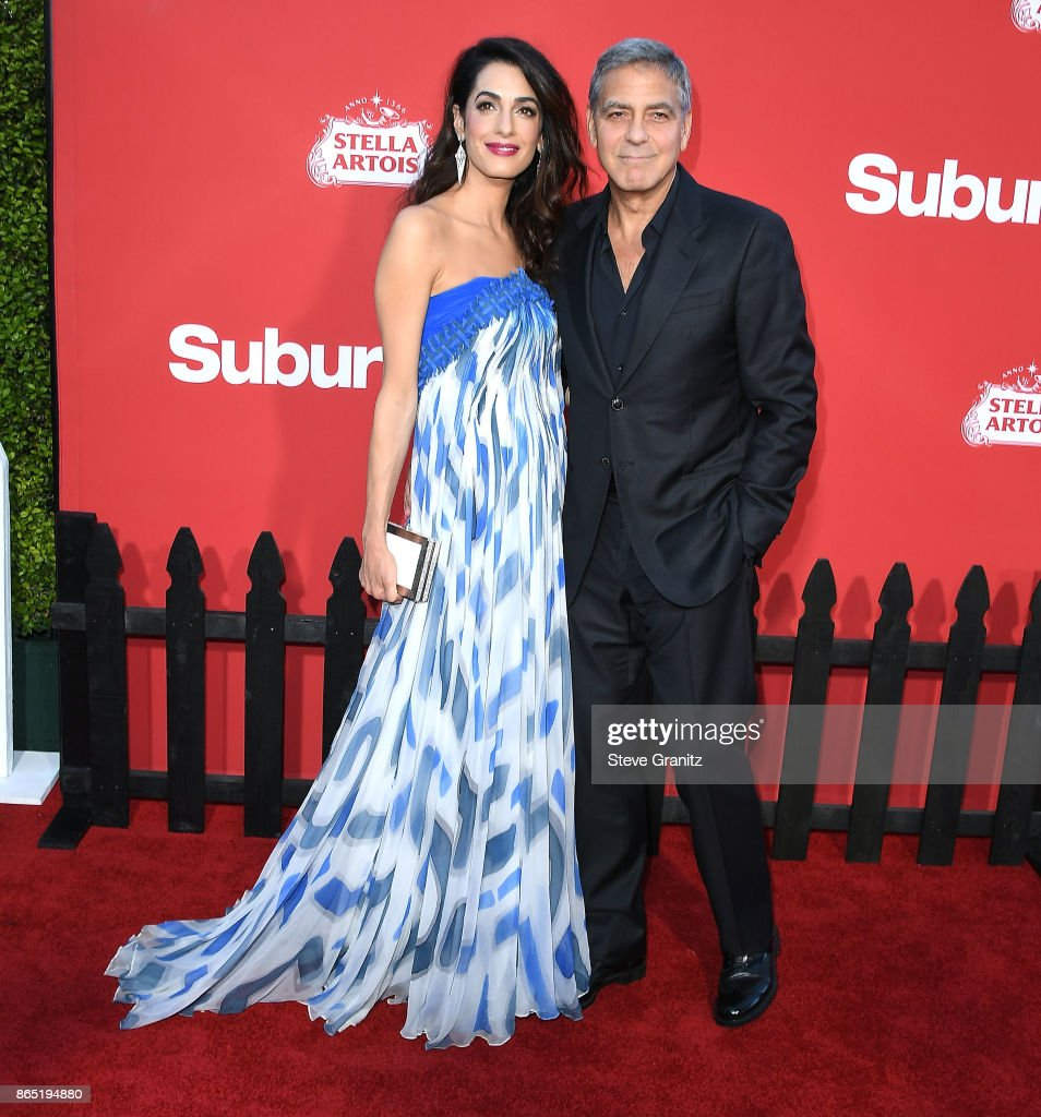 George Clooney, Amal Clooney arrives at the Premiere Of Paramount Pictures' 'Suburbicon' at Regency Village Theatre on October 22, 2017 in Westwood, California.