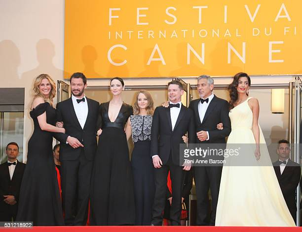 George Clooney Amal Clooney Julia Roberts and Jodie Foster attend the 'Money Monster' Premiere during the 69th annual Cannes Film Festival on May 12...