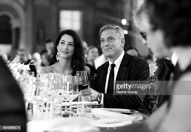 George Clooney and Amal Alamuddin attend the Celebrity Fight Night gala celebrating Celebrity Fight Night In Italy benefitting The Andrea Bocelli...