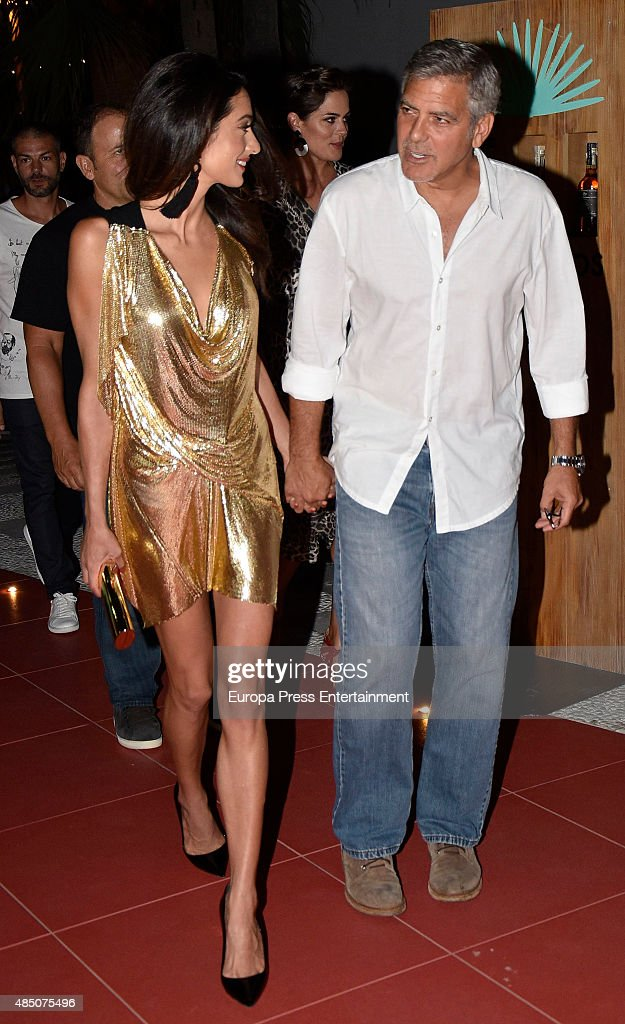 George Clooney and Amal Alamuddin attend the official launch of Casamigos Tequila in Ibiza, at Ushuaia Ibiza Beach hotel on August 23, 2015 in Ibiza, Spain.