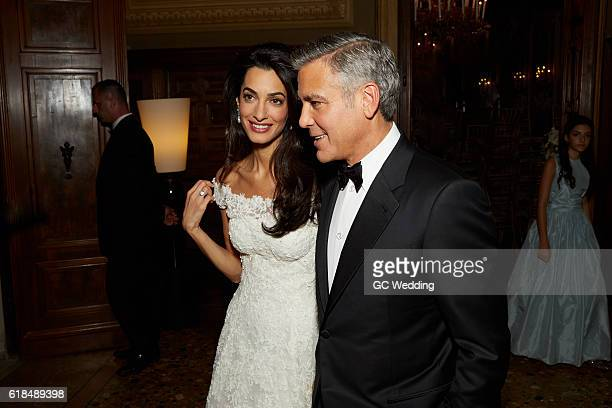 George Clooney and Amal Alamuddin during the George Clooney and Amal Alamuddin Wedding on September 27 2014 in Venice Italy