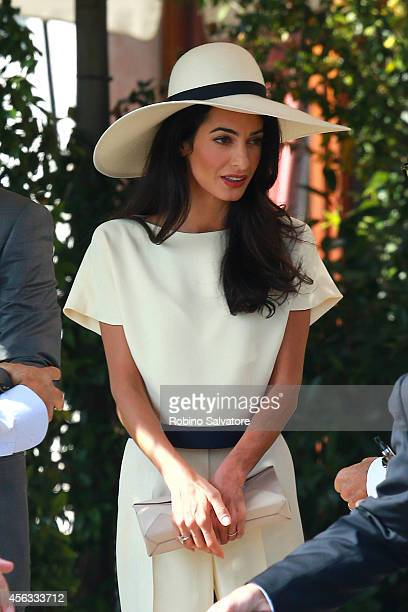 George Clooney and Amal Alamuddin sighted on the way to their civil wedding at Canal Grande on September 29 2014 in Venice Italy
