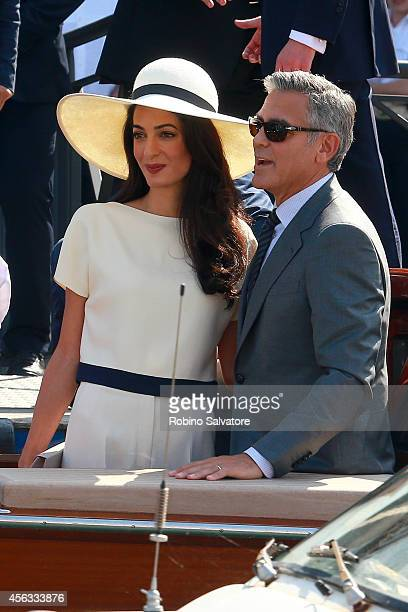 George Clooney and Amal Alamuddin sighting during their civil wedding at Canal Grande on September 29 2014 in Venice Italy