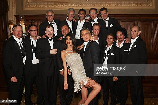 George Clooney and Amal Alamuddin with guests Tommy Hinkley Ben Weiss Grant Heslov Thom Mathews Waldo Sanchez David Sagal John Lambros Richard Kind...