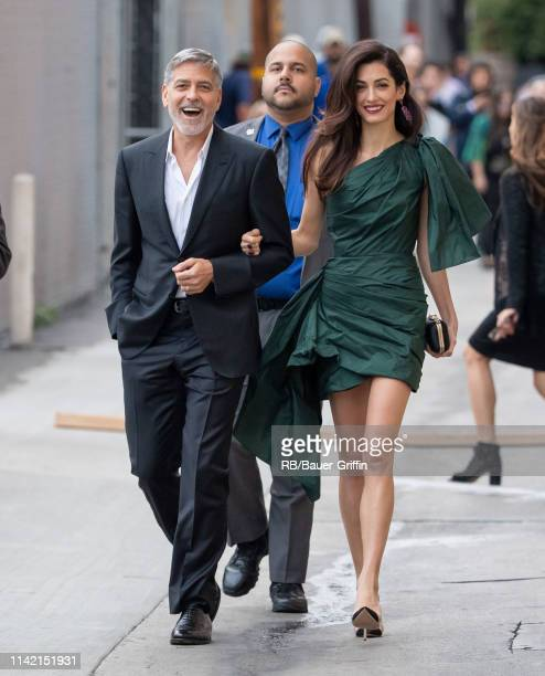 George Clooney and Amal Clooney are seen at 'Jimmy Kimmel Live' on May 07, 2019 in Los Angeles, California.