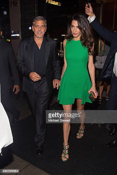 George Clooney and Amal Clooney are seen in Midtown on September 29 2015 in New York City
