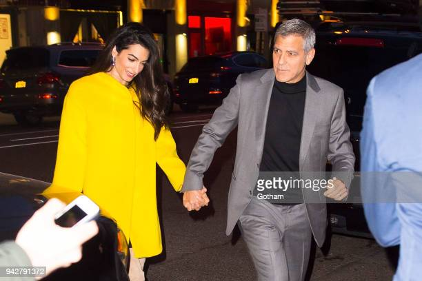 George Clooney and Amal Clooney are seen in SoHo on April 6 2018 in New York City