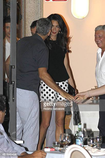 George Clooney and Amal Clooney are seen leaving a restaurant at Lake Como on July 22 2015 in Como Italy