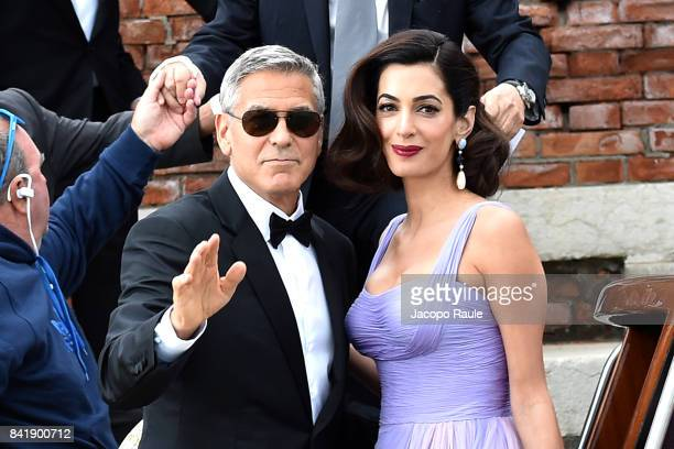 George Clooney and Amal Clooney are seen leaving Hotel Cipriani during the 74 Venice Film Festival on September 2 2017 in Venice Italy