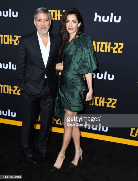 George Clooney and Amal Clooney arrives at the US Premiere Of Hulu's Catch22 at TCL Chinese Theatre on May 07 2019 in Hollywood California