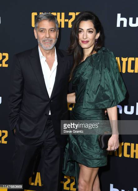 """George Clooney and Amal Clooney arrives at the U.S. Premiere Of Hulu's """"Catch-22"""" at TCL Chinese Theatre on May 07, 2019 in Hollywood, California."""