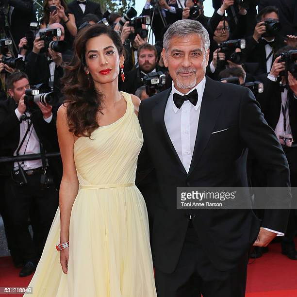 George Clooney and Amal Clooney attend the Money Monster Premiere during the 69th annual Cannes Film Festival on May 12 2016 in Cannes France