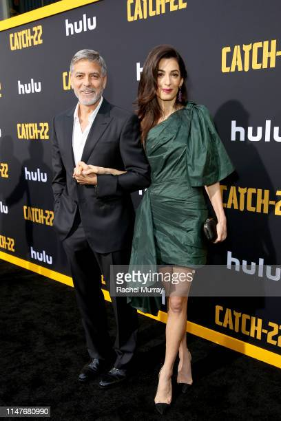 George Clooney and Amal Clooney attend the premiere of Hulu's Catch22 on May 07 2019 in Hollywood California