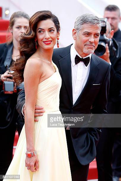 George Clooney and Amal Clooney attend the screening of 'Money Monster' at the annual 69th Cannes Film Festival at Palais des Festivals on May 12...