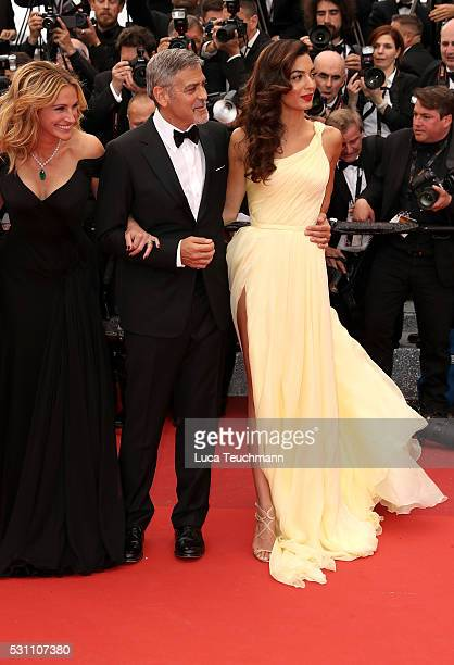 George Clooney and Amal Clooney attend the screening of Money Monster at the annual 69th Cannes Film Festival at Palais des Festivals on May 12 2016...