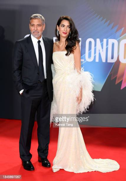 """George Clooney and Amal Clooney attend """"The Tender Bar"""" Premiere during the 65th BFI London Film Festival at The Royal Festival Hall on October 10,..."""