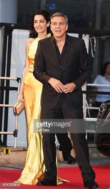 George Clooney and Amal Clooney attend the Tokyo premiere of Tomorrowland at Roppongi Hills on May 25 2015 in Tokyo Japan
