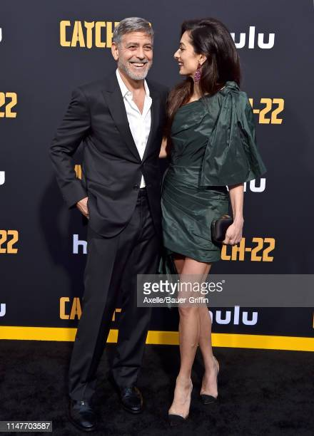 """George Clooney and Amal Clooney attend the U.S. Premiere of Hulu's """"Catch-22"""" at TCL Chinese Theatre on May 07, 2019 in Hollywood, California."""