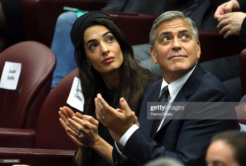 George Clooney and Amal Clooney attend 'Un Muro o Un Ponte' Seminary held by Pope Francis at the Paul VI Hall on May 29, 2016 in Vatican City, Vatican.