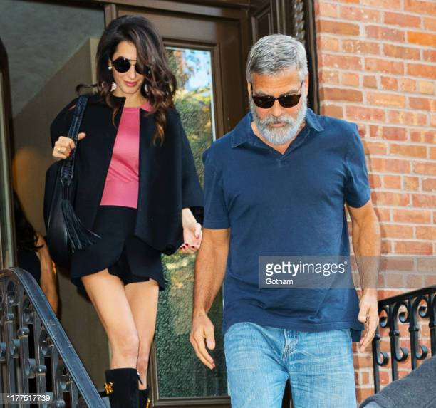 George Clooney and Amal Clooney out and about on September 27, 2019 in New York City.