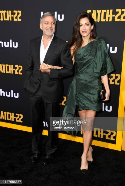 """George Clooney and Amal Clooney U.S. Premiere Of Hulu's """"Catch-22"""" at TCL Chinese Theatre on May 07, 2019 in Hollywood, California."""