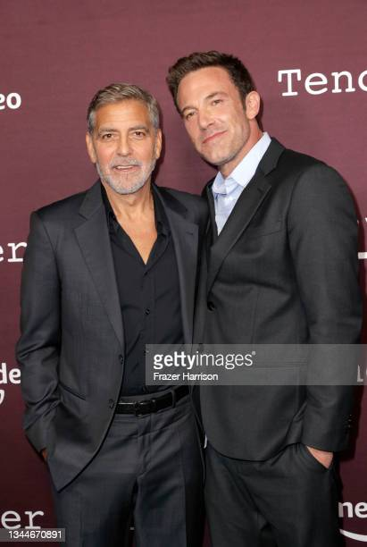 """George Clooney and Ben Affleck attends the Los Angeles Premiere of """"The Tender Bar"""" presented by Amazon Studios at DGA Theater Complex on October 03,..."""