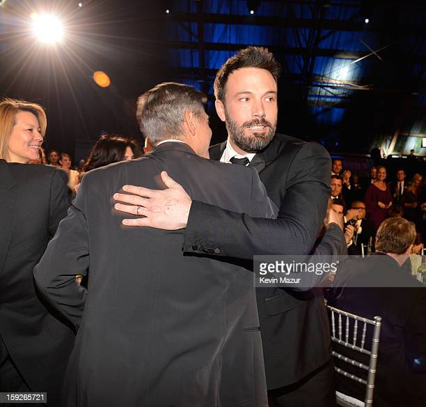 George Clooney and Ben Affleck during the 18th Annual Critics' Choice Movie Awards at The Barker Hanger on January 10 2013 in Santa Monica California