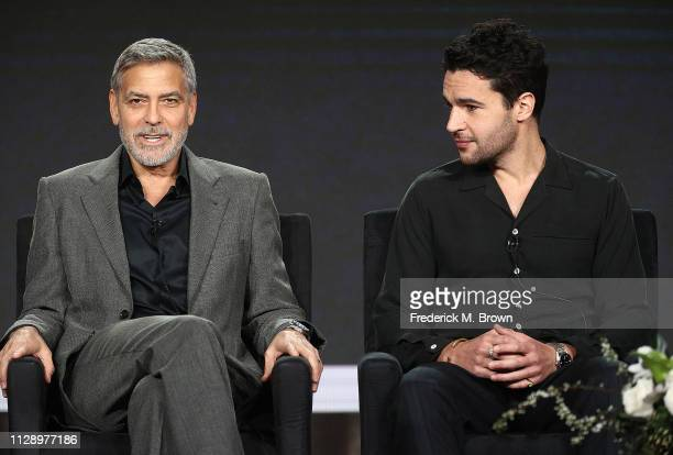 George Clooney and Christopher Abbott of the television show 'Catch 22' speak during the Hulu segment of the 2019 Winter Television Critics...