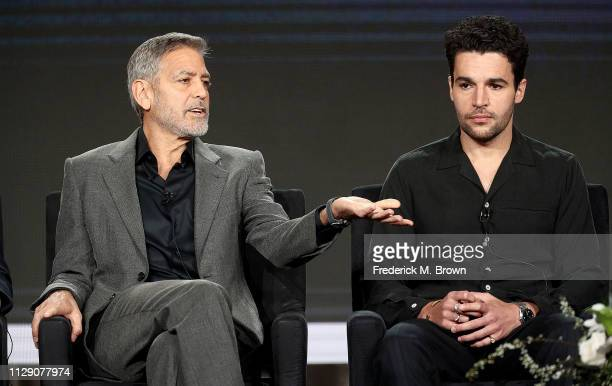 "George Clooney and Christopher Abbott of the television show ""Catch 22"" speak during the Hulu segment of the 2019 Winter Television Critics..."