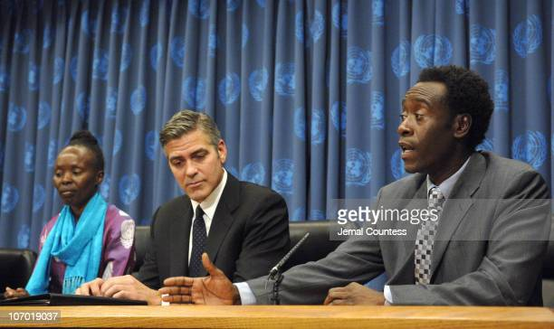 George Clooney and Don Cheadle speak at the Save Darfur Coalition Press Conference at the United Nations on December 15 2006 in New York City
