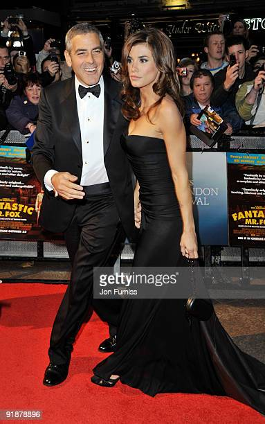 George Clooney and Elisabetta Canalis attend the Opening Gala for The Times BFI London Film Festival which Premiere's 'Fantastic Mr Fox' at the Odeon...
