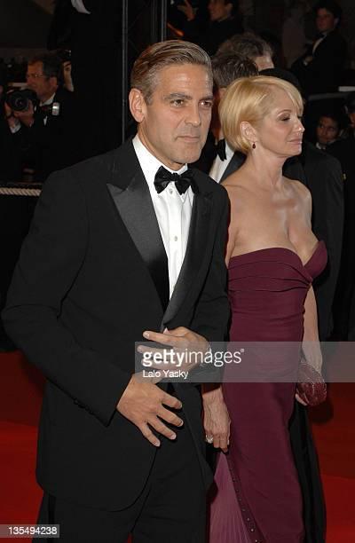 George Clooney and Ellen Barkin during 2007 Cannes Film Festival 'Ocean's Thirteen' Departures at Palais des Festivals in Cannes France