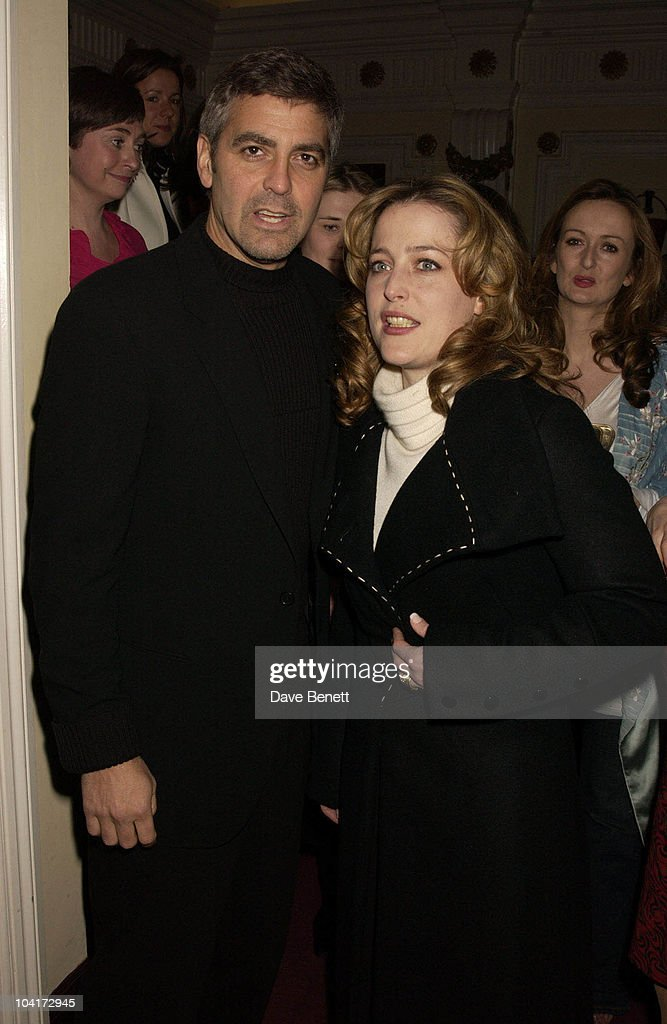 George Clooney And Gillian Anderson, Charity Screening And Party For The Movie Ôsolaris' Hosted By Harpers And Queen In Aid Of Ôfacing The World' A Charity Which Helps Children From Poor Countries To Recieve Plastic Surgery (natasha Mcelhone's Husband Is One Of The Charity's Leading Surgeons) At The Electric Cinema, Notting Hill, London