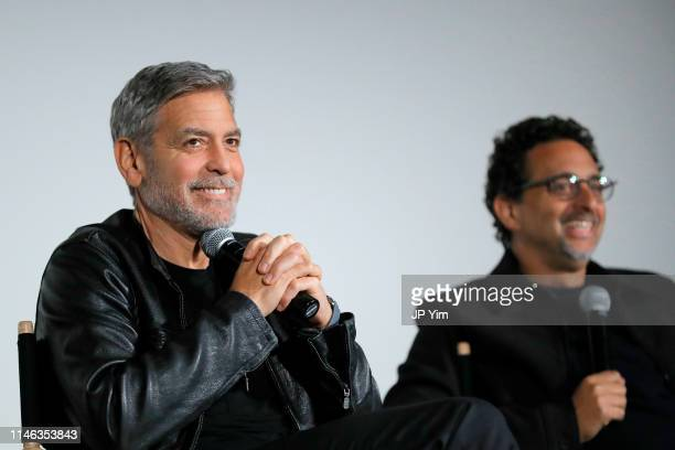 George Clooney and Grant Heslov speaks onstage during Hulu's Catch22 New York Special Screening at DGA Theatre on May 01 2019 in New York City