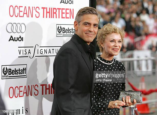 George Clooney and his mother during Belstaff Sponsors the Premiere of Ocean's Thirteen at Grauman's Chinese Theater in Hollywood California United...