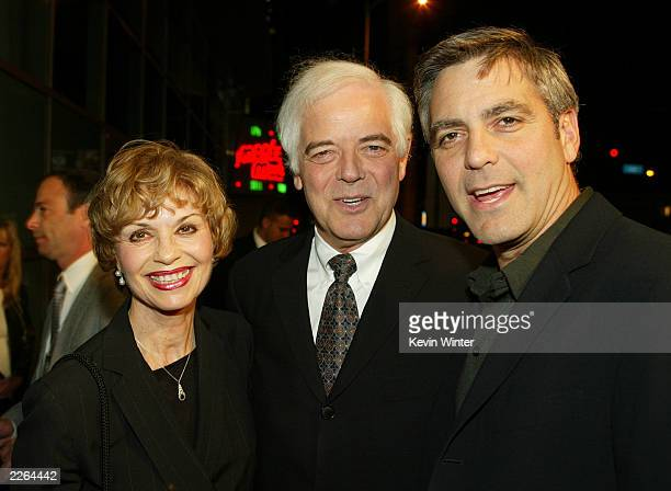 George Clooney and his parents Nick and Nina Clooney at the premiere of Solaris at the Cinerama Dome in Hollywood Ca Tuesday Nov 19 2002 Photo by...